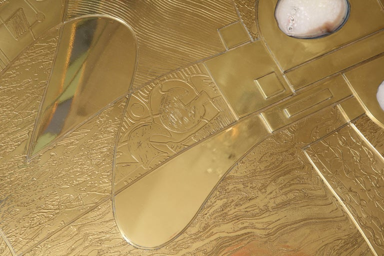 Spectacular Etched Brass and Double Agate Rectangular Cocktail Table 7