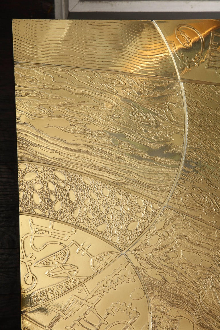 Spectacular Etched Brass and Double Agate Rectangular Cocktail Table 8