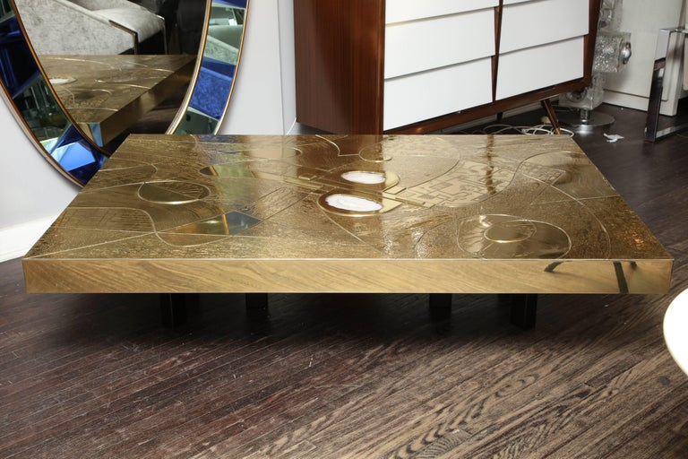 Spectacular Etched Brass and Double Agate Rectangular Cocktail Table 10
