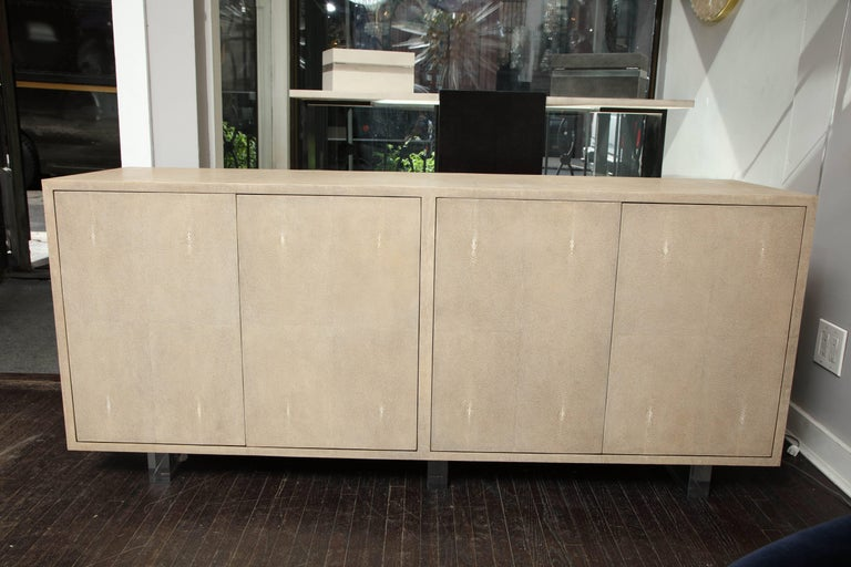Genuine Shagreen Sideboard Floating on Acrylic Base 3