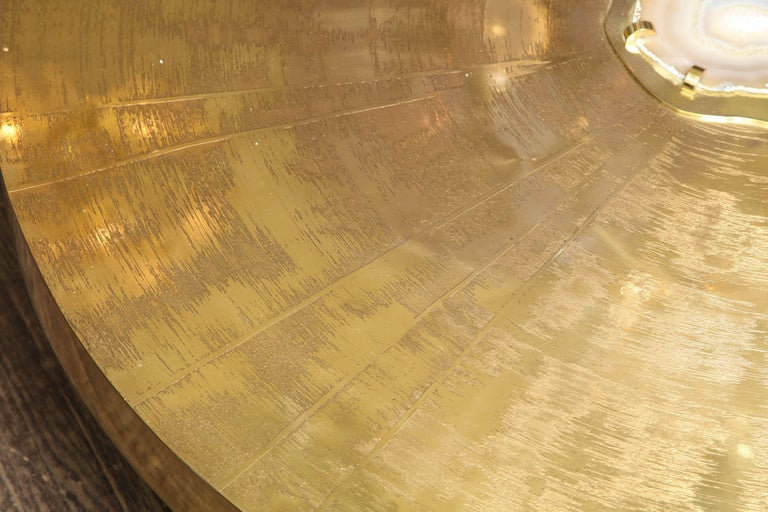 Spectacular Round Etched Brass and Agate Cocktail Table In Excellent Condition For Sale In New York, NY