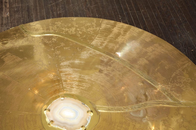 Spectacular Round Etched Brass and Agate Cocktail Table For Sale 1