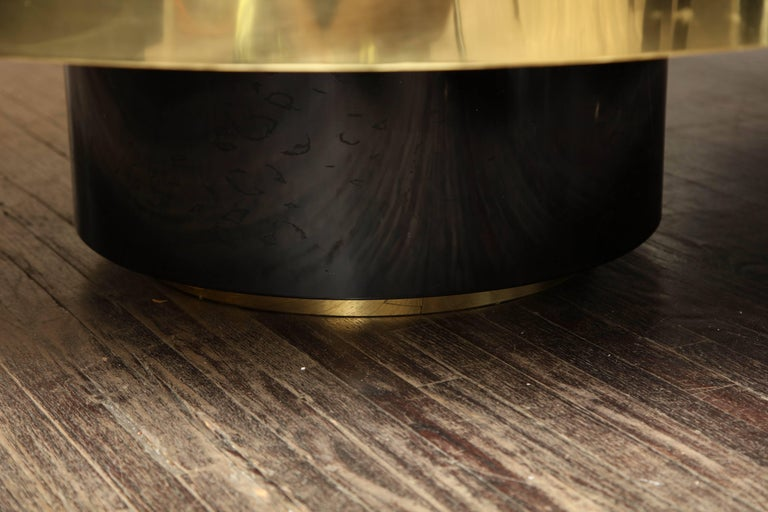 Spectacular Round Etched Brass and Agate Cocktail Table For Sale 3