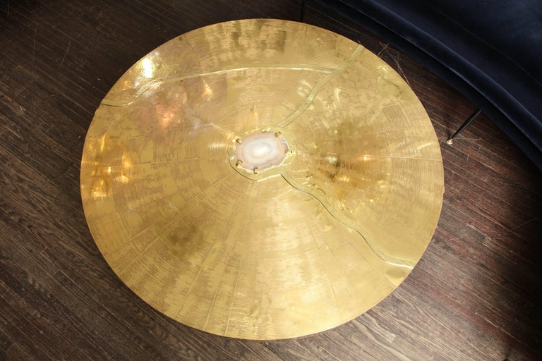 Spectacular Round Etched Brass and Agate Cocktail Table For Sale 4