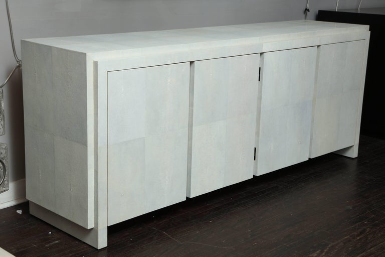 Spectacular Genuine Shagreen Sideboard in Pale Water Grey 7