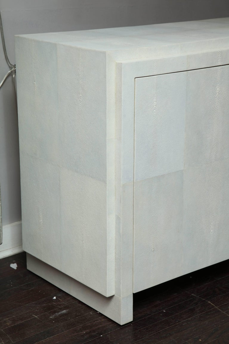 Spectacular Genuine Shagreen Sideboard in Pale Water Grey 8