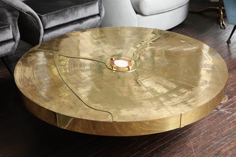 Mid-Century Modern Spectacular Round Etched Brass Cocktail Table with Agate Stone For Sale