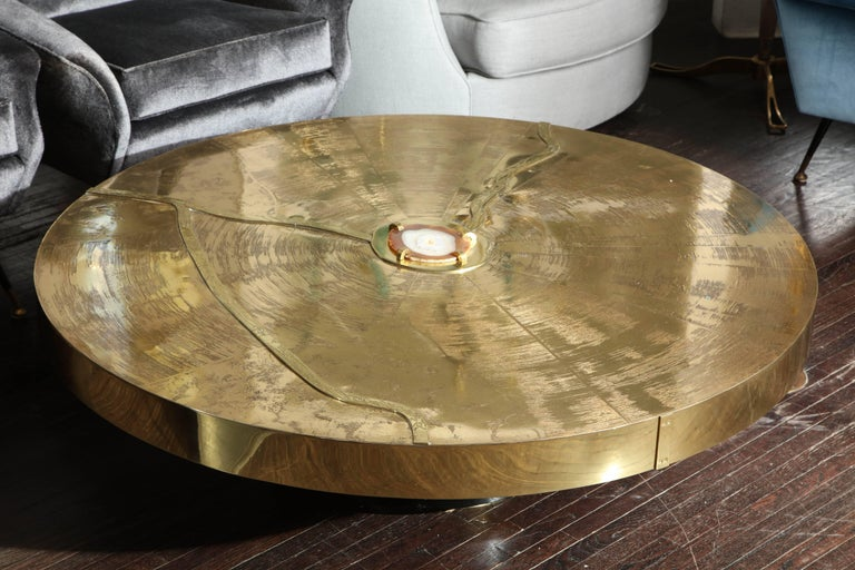 Spectacular Round Etched Brass Cocktail Table with Agate Stone For Sale 2