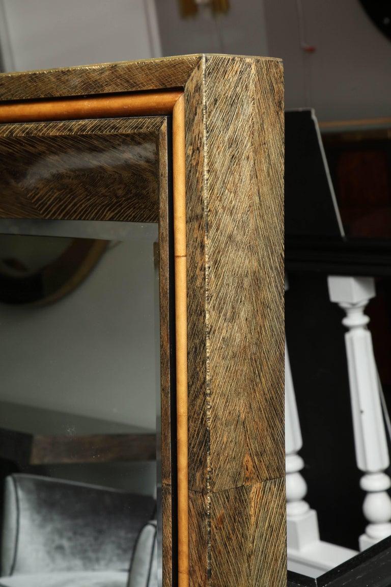 Contemporary Enormous Coco Fiber Mirror with Orange Goatskin Insert For Sale