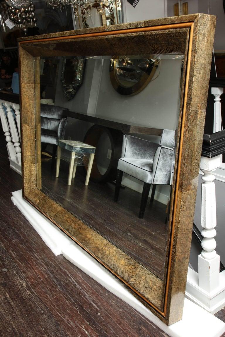 Enormous Coco Fiber Mirror with Orange Goatskin Insert For Sale 1