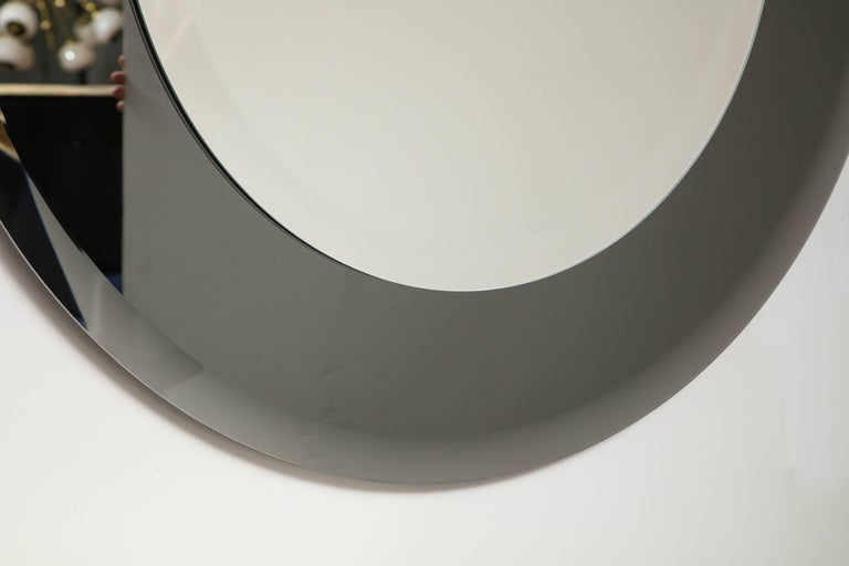 Grey Glass Round Mirror in the Style of Karl Springer In Excellent Condition For Sale In New York, NY