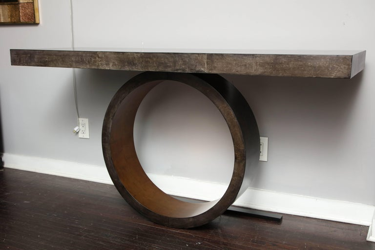 Philippine Custom Charcoal Goatskin Console with Umber Gold Leaf For Sale