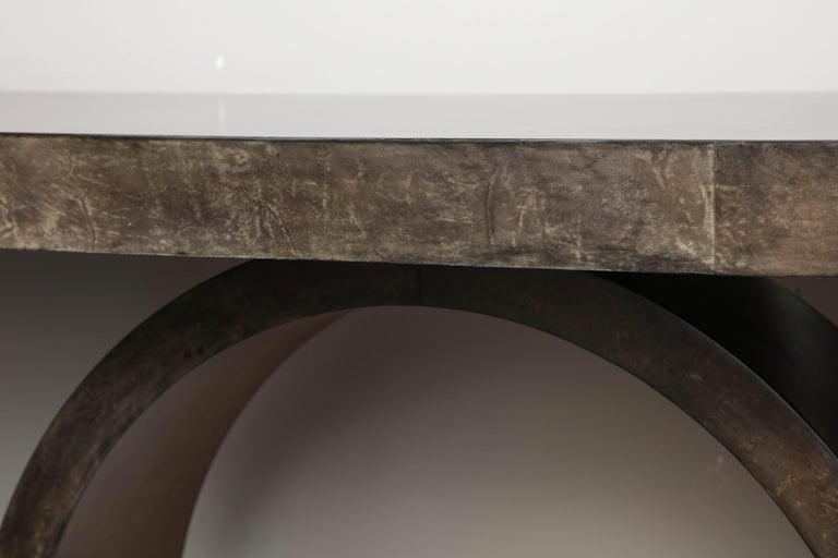 Custom Charcoal Goatskin Console with Umber Gold Leaf For Sale 1