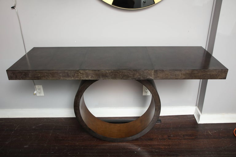 Custom Charcoal Goatskin Console with Umber Gold Leaf For Sale 2