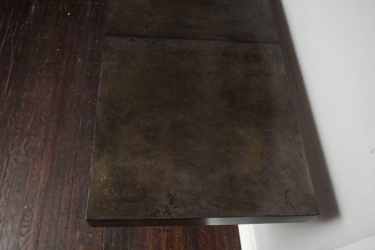 Custom Charcoal Goatskin Console with Umber Gold Leaf For Sale 3