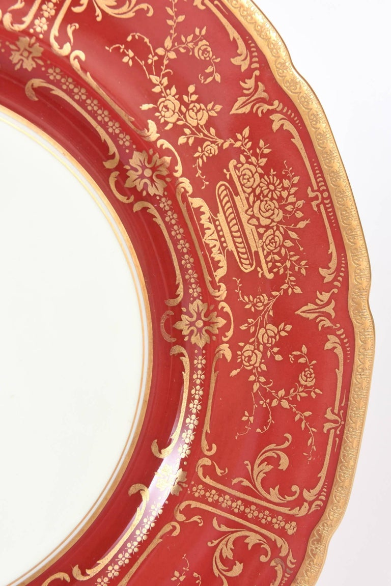 12 Antique Dinner Plates Red And Gold By Royal Doulton