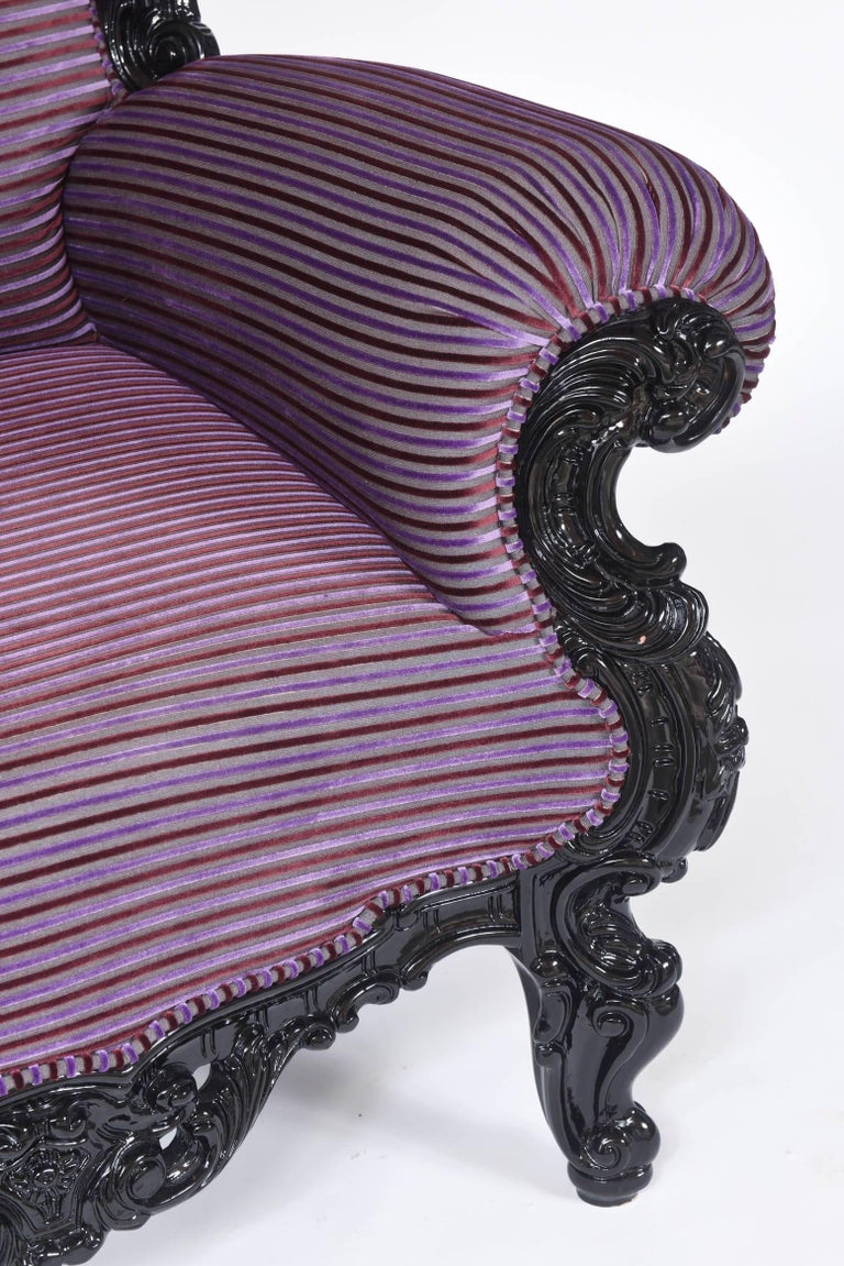 Custom Carlo Rampazzi Oversized Armchair, Black with Custom Purple Upholstery In Good Condition For Sale In West Palm Beach, FL
