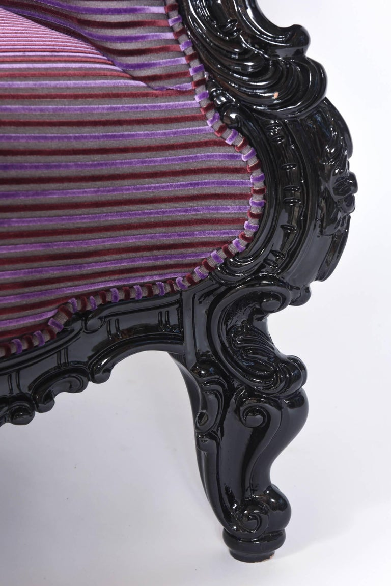Custom Carlo Rampazzi Oversized Armchair, Black with Custom Purple Upholstery For Sale 1