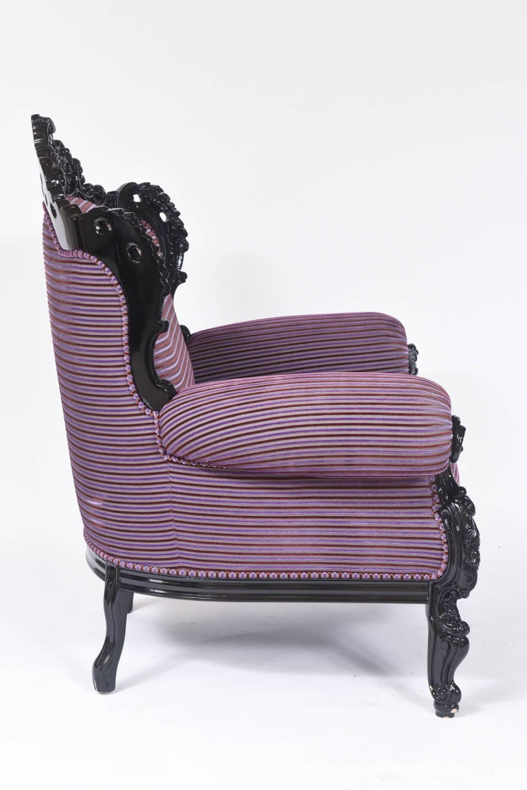 Custom Carlo Rampazzi Oversized Armchair, Black with Custom Purple Upholstery For Sale 2