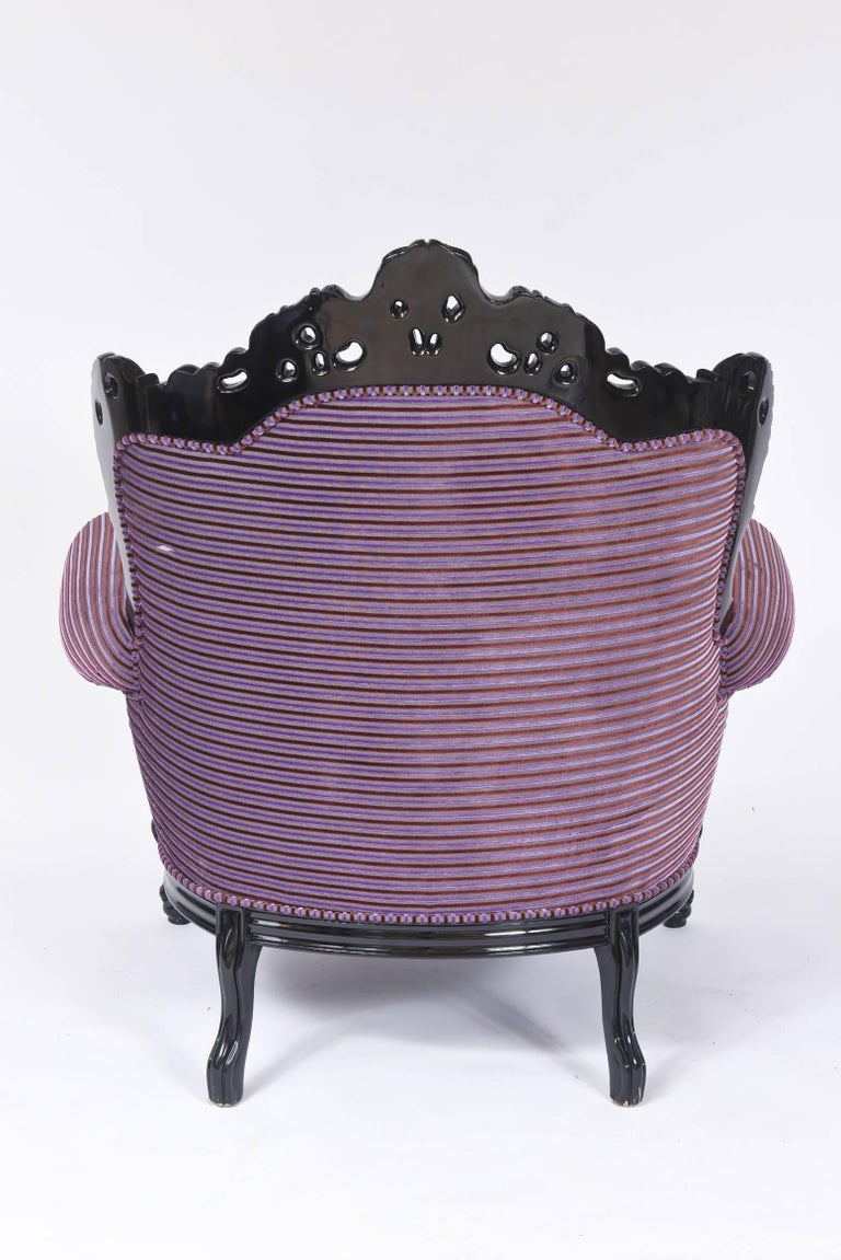Custom Carlo Rampazzi Oversized Armchair, Black with Custom Purple Upholstery For Sale 4