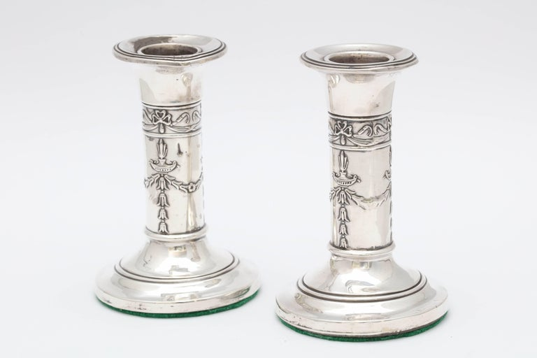 Pair of Small Edwardian Sterling Silver Candlesticks For Sale 1