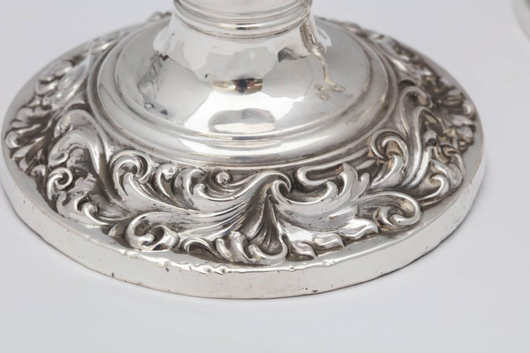 Early 20th Century Pair of Edwardian, Sterling Silver Candlesticks For Sale
