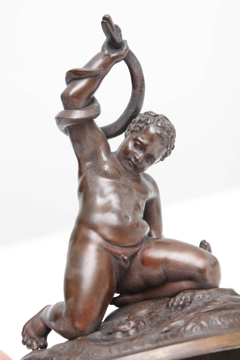 Cast Bronze of the Young Hercules Wrestling with Serpents, Italy, 18th Century For Sale