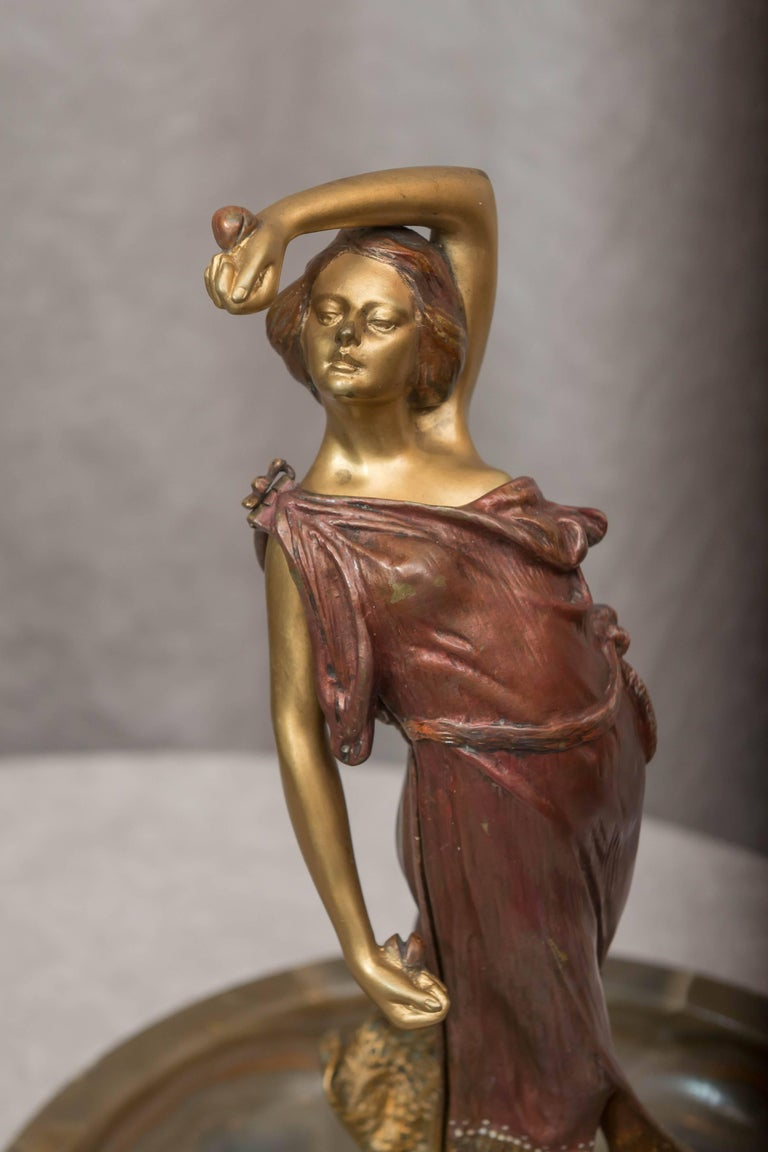 Art Nouveau Austrian Naughty, Movable Bronze of a Maiden with Removable Dress For Sale
