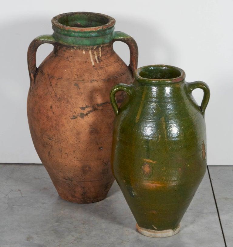 Tall Antique Terracotta Olive Jar With Green Glazed Rim