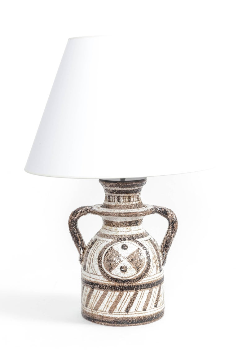 Mid-20th Century Graphic Textured Rosenthal Netter Table Lamp For Sale