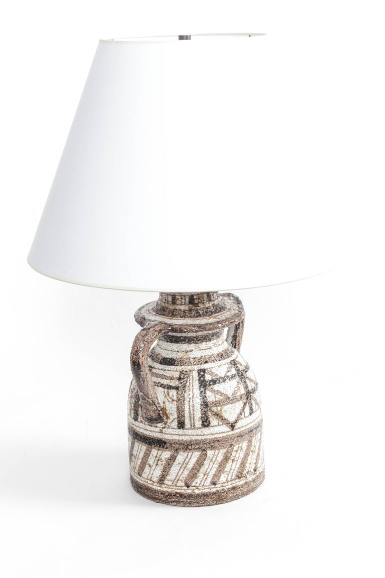 Hand-Painted Graphic Textured Rosenthal Netter Table Lamp For Sale