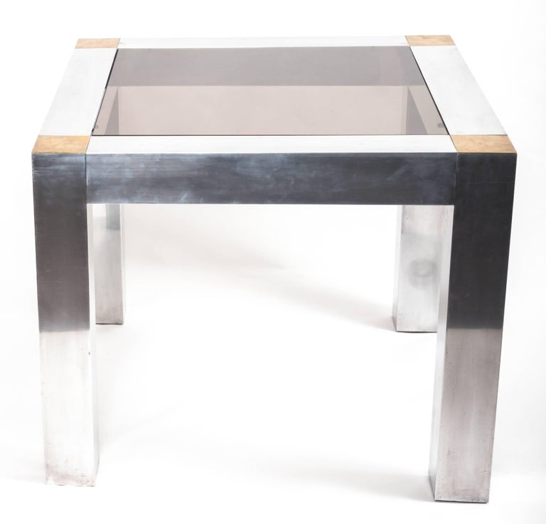 Paul Evans style Aluminum and Brass Parsons Table 2