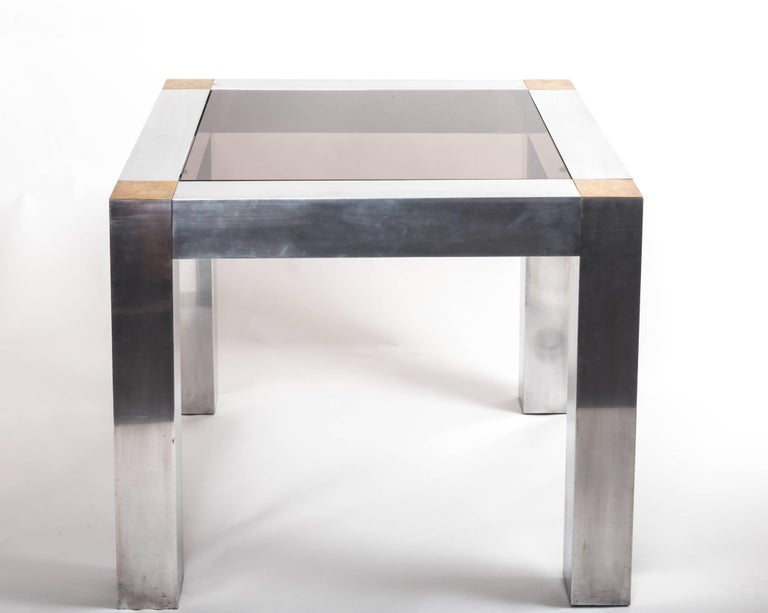 Paul Evans style Aluminum and Brass Parsons Table 8