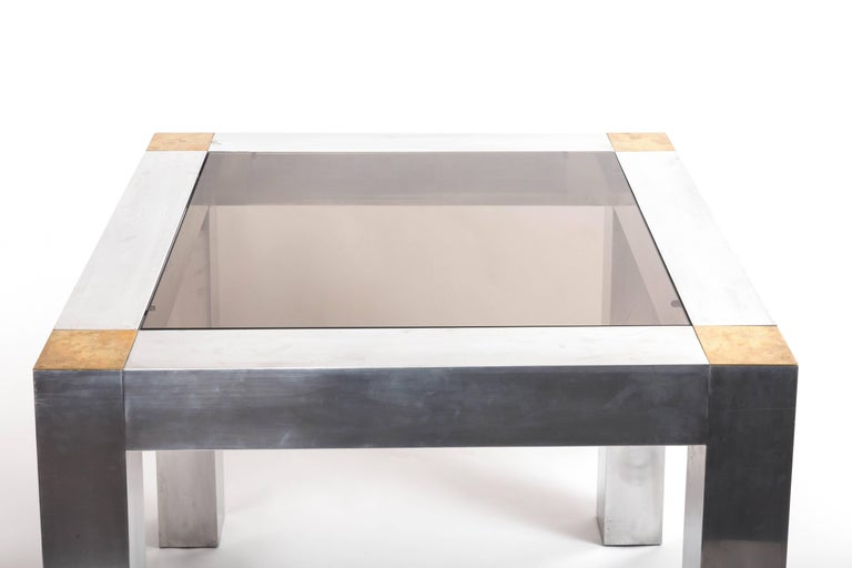 Paul Evans style Aluminum and Brass Parsons Table 3
