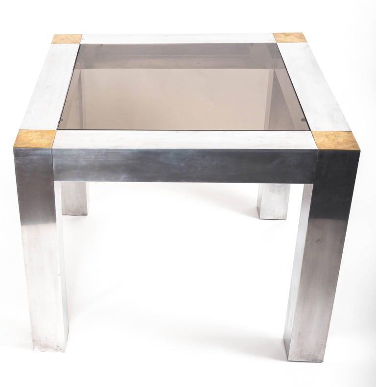 Paul Evans style Aluminum and Brass Parsons Table 10