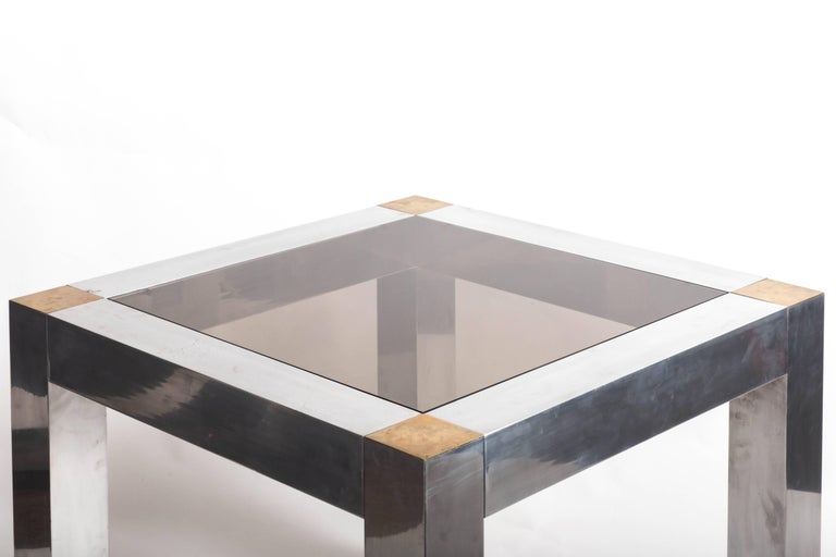 Paul Evans style Aluminum and Brass Parsons Table 4
