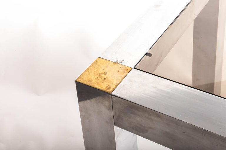 Paul Evans style Aluminum and Brass Parsons Table 7