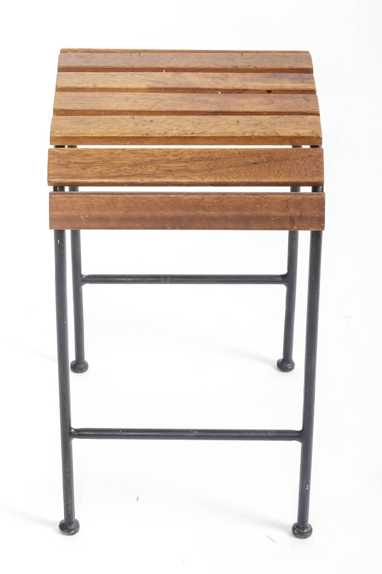 Slatted Wood and Metal Stool  In Excellent Condition For Sale In East Hampton, NY