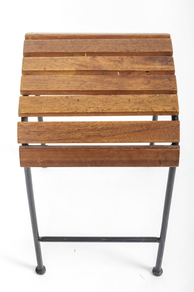 20th Century Slatted Wood and Metal Stool  For Sale
