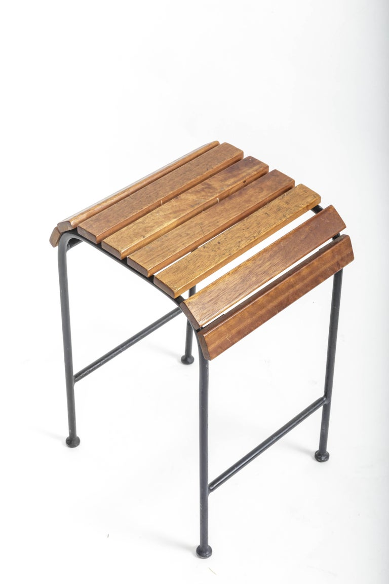 Small Slatted Wood and Metal Stool  France, 20th Century