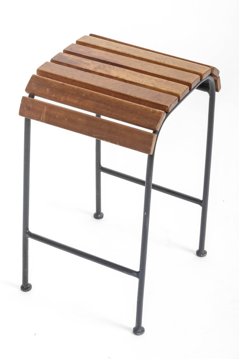 French Slatted Wood and Metal Stool  For Sale