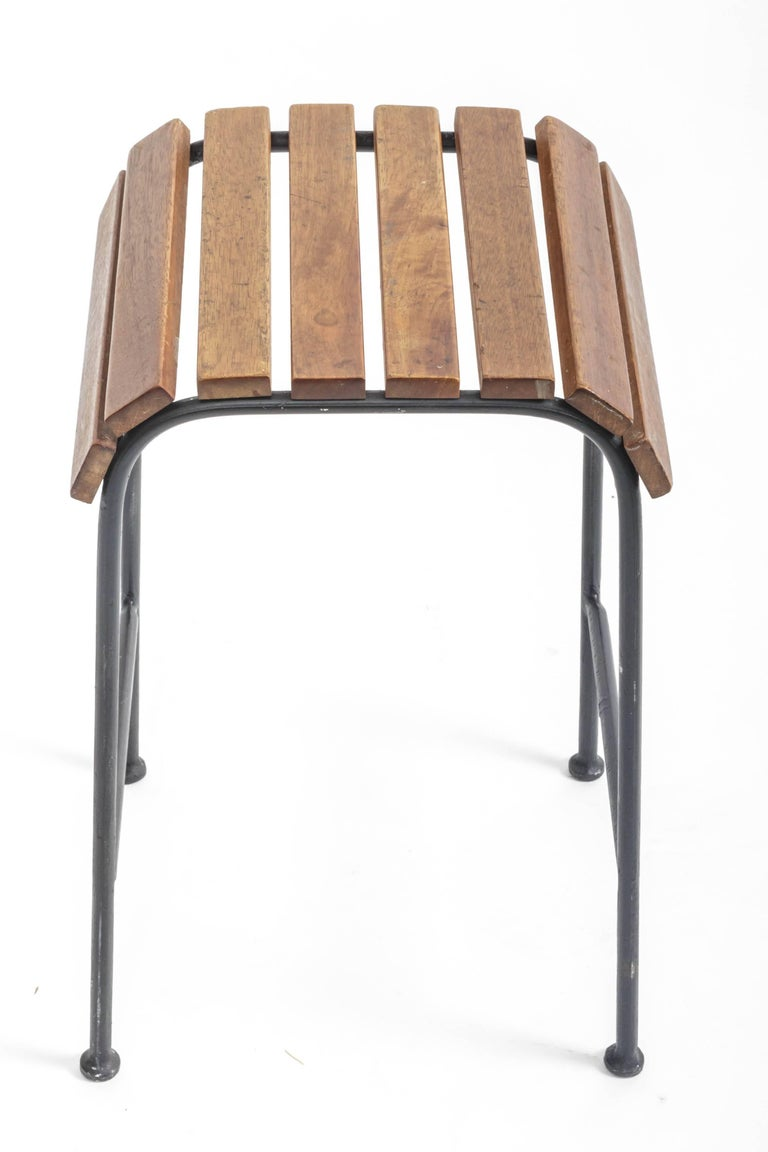 Slatted Wood and Metal Stool  For Sale 2