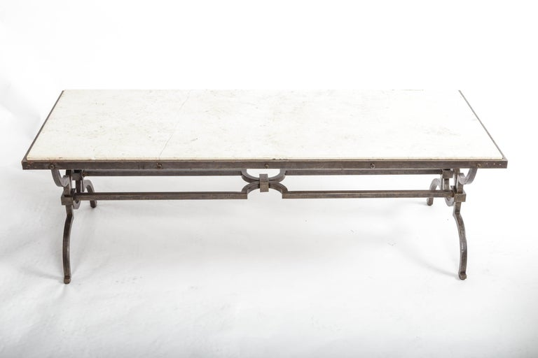 French Black Patinated and Gilded Wrought Iron Coffee Table by Gilbert Poillerat, 1940s For Sale