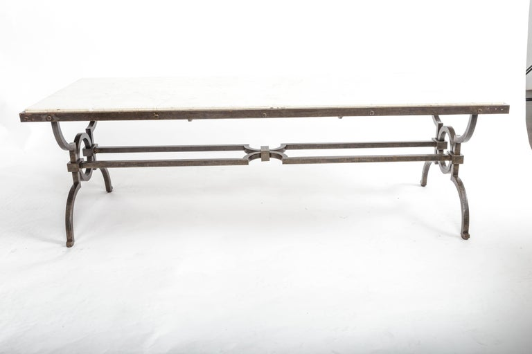 Mid-20th Century Black Patinated and Gilded Wrought Iron Coffee Table by Gilbert Poillerat For Sale
