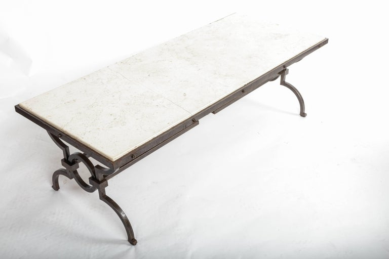 Black Patinated and Gilded Wrought Iron Coffee Table by Gilbert Poillerat, 1940s For Sale 1