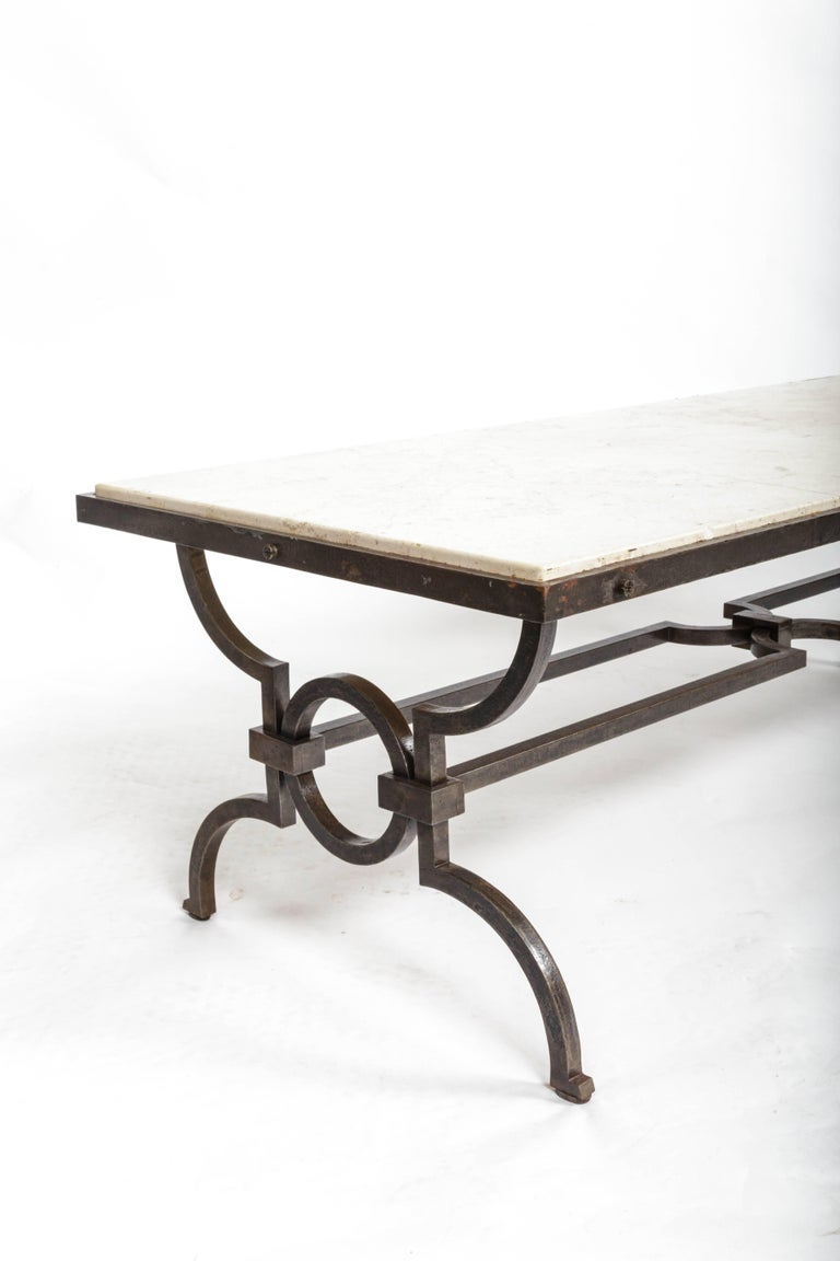 Black Patinated and Gilded Wrought Iron Coffee Table by Gilbert Poillerat, 1940s For Sale 2