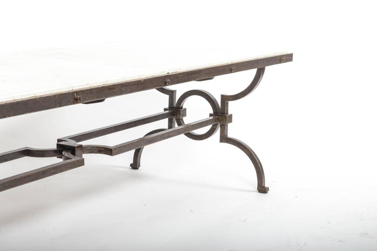 Black Patinated and Gilded Wrought Iron Coffee Table by Gilbert Poillerat, 1940s For Sale 3