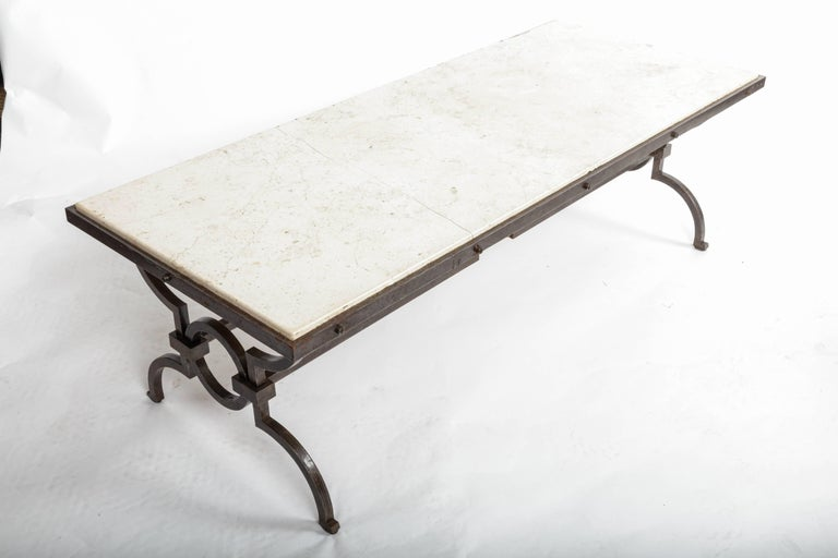 Black Patinated and Gilded Wrought Iron Coffee Table by Gilbert Poillerat, 1940s For Sale 4