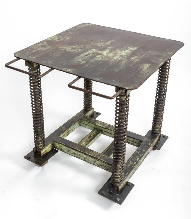 American Green Patinated Steel Industrial Table For Sale