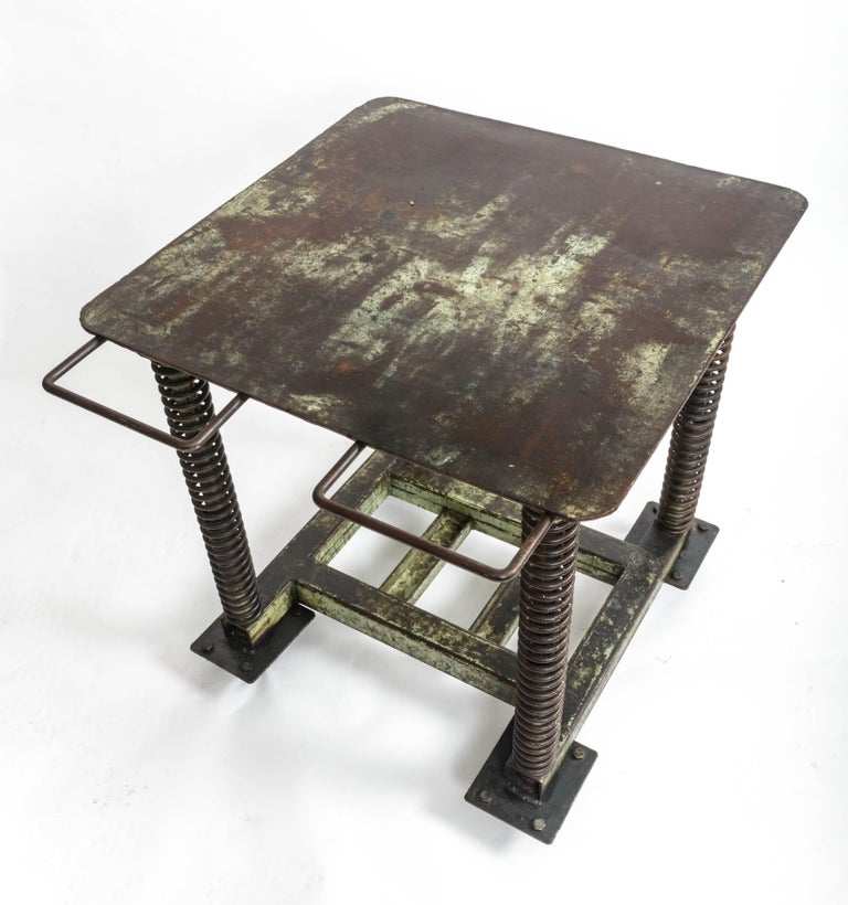Green Patinated Steel Industrial Table For Sale 1